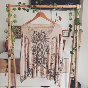 Verty Embellished Tan Poncho Sweater - Size Small